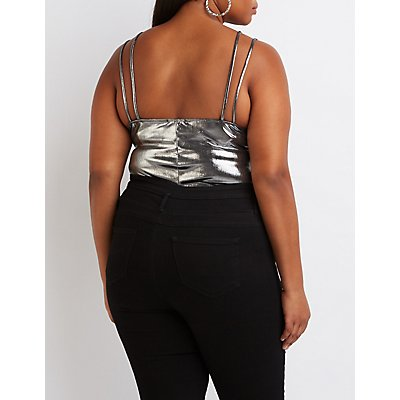 Plus Size Metallic Caged Bodysuit