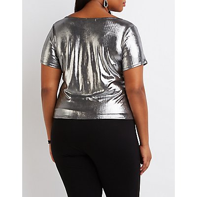 Plus Size Metallic Knotted Crop Top