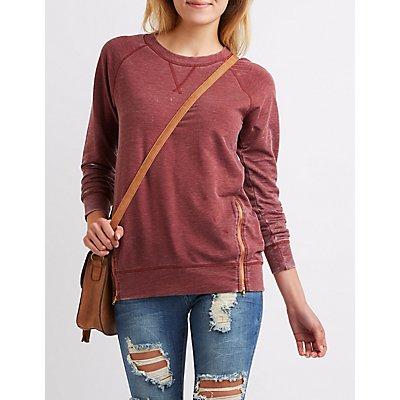 Marled Zipper-Trim Sweatshirt