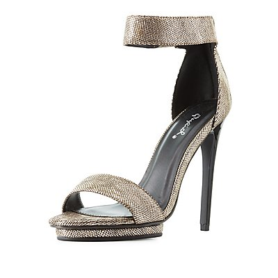 Qupid Shimmer Two-Piece Dress Sandals