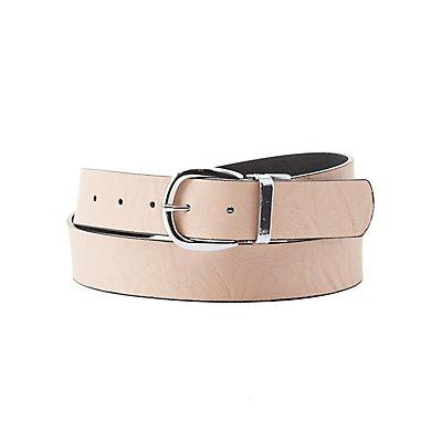 Plus Size Reversible Faux Leather Buckle Belt