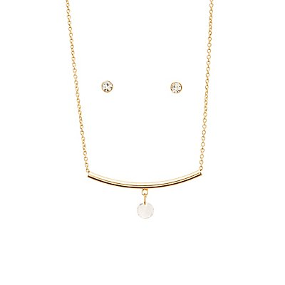 Stud Earrings & Bar Necklace Matching Set
