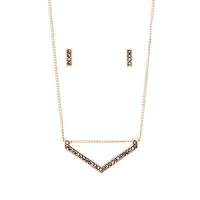 Stud Earrings & Chevron Necklace Matching Set