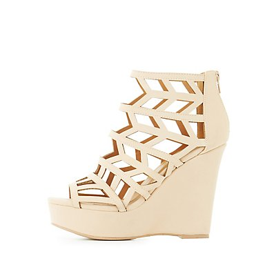 Caged Laser Cut Wedge Sandals