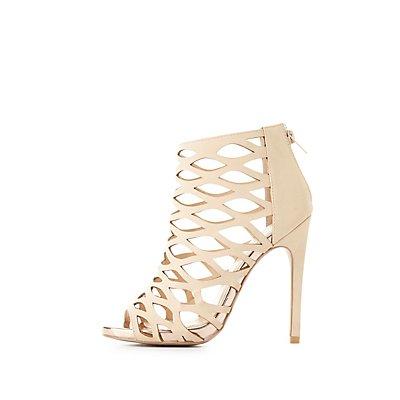 Metallic-Trim Laser Cut Dress Sandals