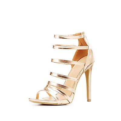 Metallic Strappy Dress Sandals