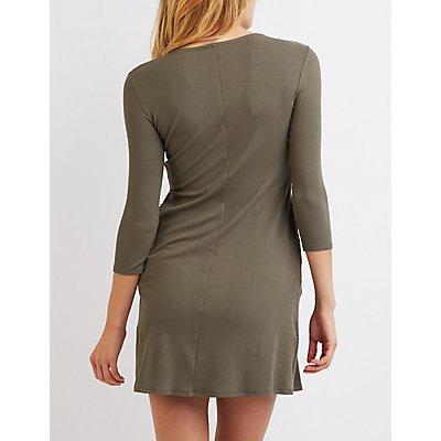Ribbed Lattice Shift Dress