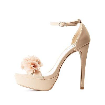 Qupid Flower Accent Two-Piece Dress Sandals