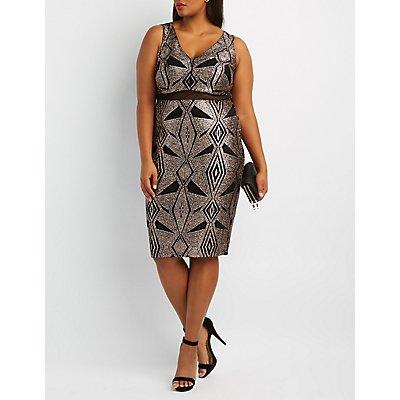 Plus Size Glitter & Mesh Bodycon Dress