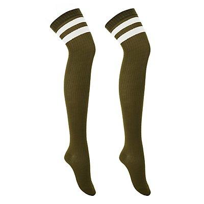 Varsity Stripe Thigh-High Socks