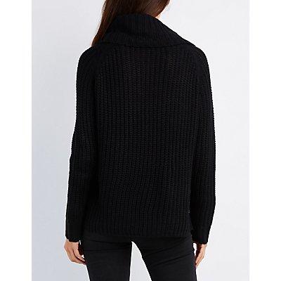 Shaker Stitch Cowl Neck Sweater