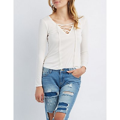Ribbed Lace-Up Tee