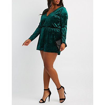 Plus Size Velvet V-Neck Romper