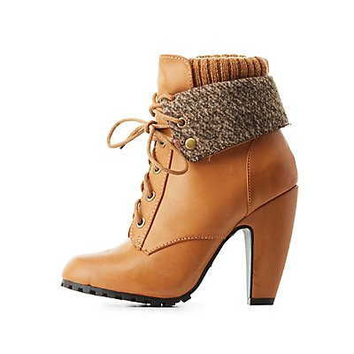 Bamboo Sweater-Cuffed Lug Sole Booties