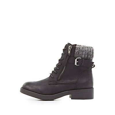 Sweater-Cuffed Combat Booties