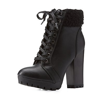 Bamboo Faux Shearling Lace-Up Booties
