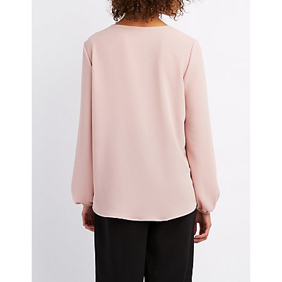 Textured Lace-Up Blouse