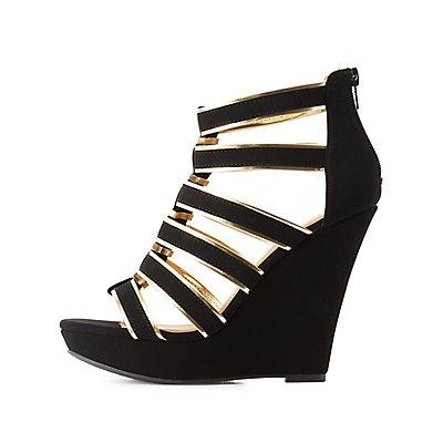Qupid Metallic-Trim Caged Wedge Sandals