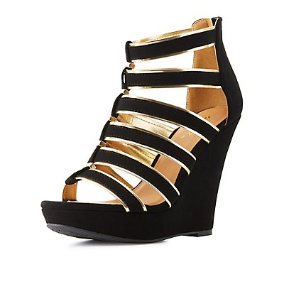 Qupid Metallic-Trim Caged Wedge Sandals