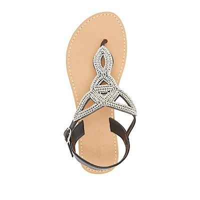 Rhinestone-Embellished Looped Thong Sandals