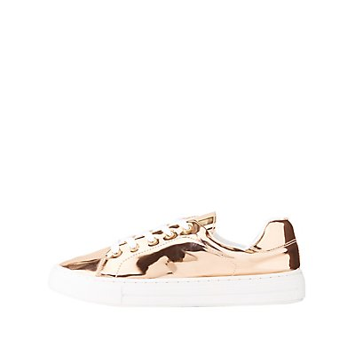 Qupid Metallic Lace-Up Sneakers