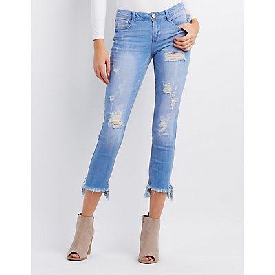 Frayed Hem Destroyed Skinny Jeans
