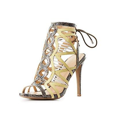 Faux Snakeskin Colorblock Dress Sandals