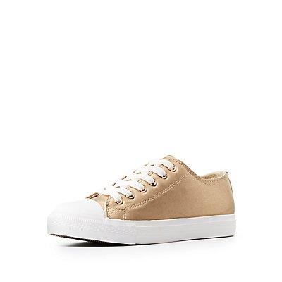 Qupid Metallic Cap Toe Lace-Up Sneakers