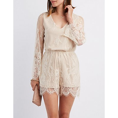 Eyelash Lace V-Neck Romper