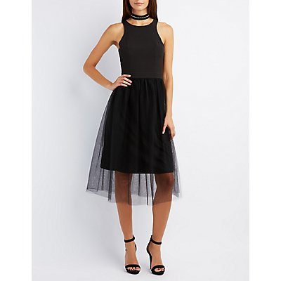 Tulle Skirt Midi Dress
