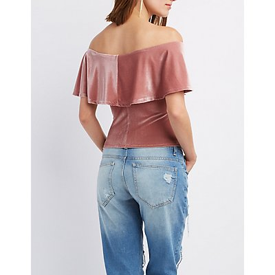 Corduroy Off-The-Shoulder Top