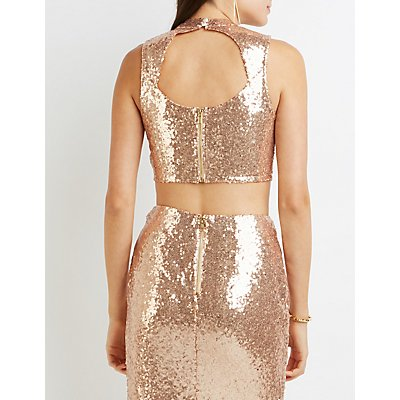 Sequin Open Back Crop Top