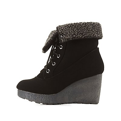 Bamboo Shearling-Lined Wedge Booties