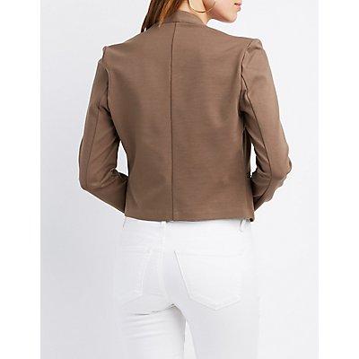 Collarless Asymmetrical Cropped Blazer