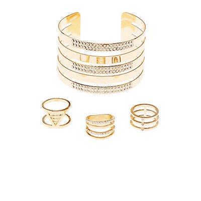 Embellished Rings & Cuff Bracelet Set
