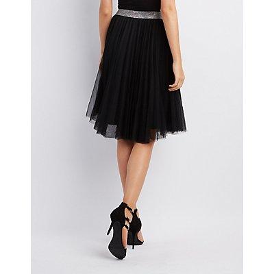 Shimmer Waistband Tulle Skirt