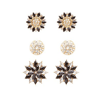 Embellished Statement Earrings - 3 Pack