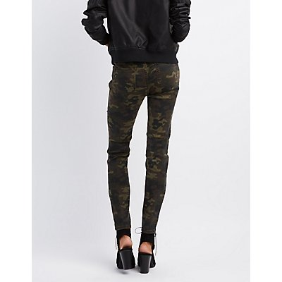 Cello Camo Destroyed Skinny Jeans