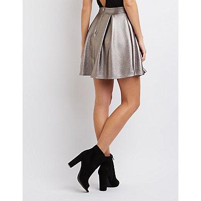 Metallic Pleated Skater Skirt