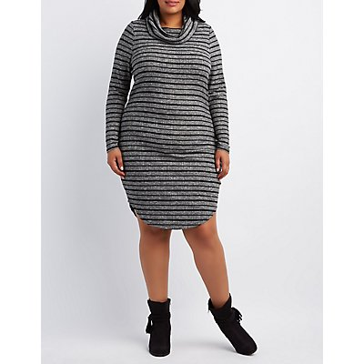 Plus Size Ribbed Cowl Neck Dress