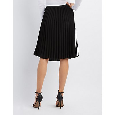 Varsity Stripe Pleated Midi Skirt