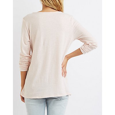 Marled Strappy Cut-Out Tee