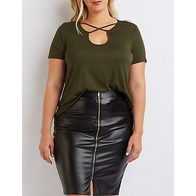 Plus Size Strappy Notched Tee