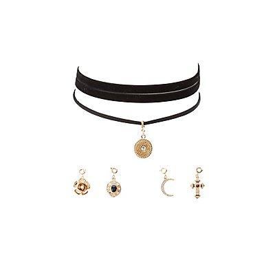 Detachable Charm Choker Necklaces - 2 Pack