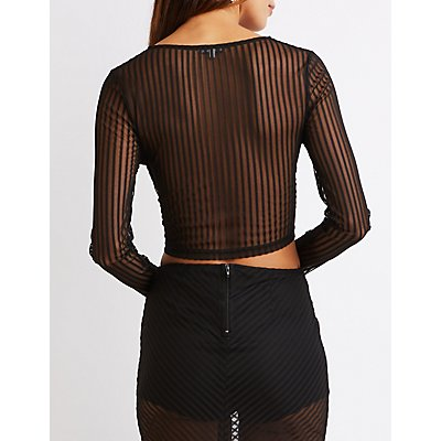 Shadow Stripe Crop Top