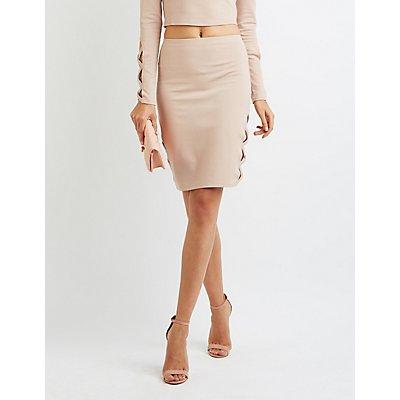 Lattice-Inset Pencil Skirt