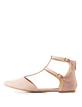 T-Strap Pointed Toe Flats