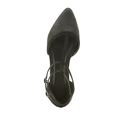 Shimmer T-Strap Pointed Toe Flats