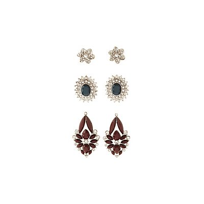 Embellished Cluster Earrings - 3 Pack