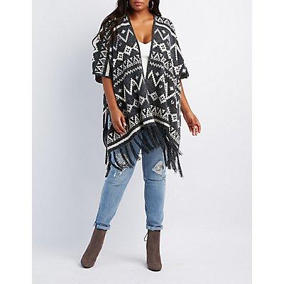 Plus Size Geometric Fringed Poncho Cardigan